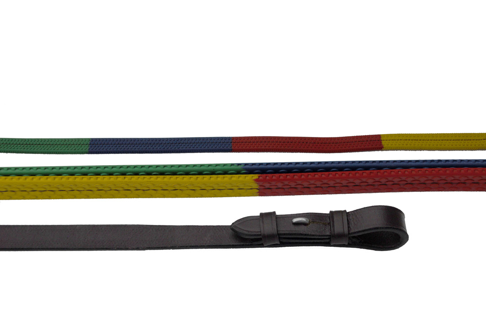 Windsor Equestrain Multi Coloured Rubber Covered Reins