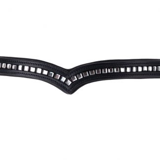 Rhinegold V Shaped Padded Leather Browband With Square Crystals