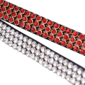 Heritage Three Row Crystal Browband - Red