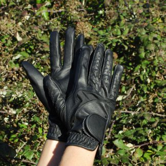 Rhinegold Luxe Leather Riding Gloves Black