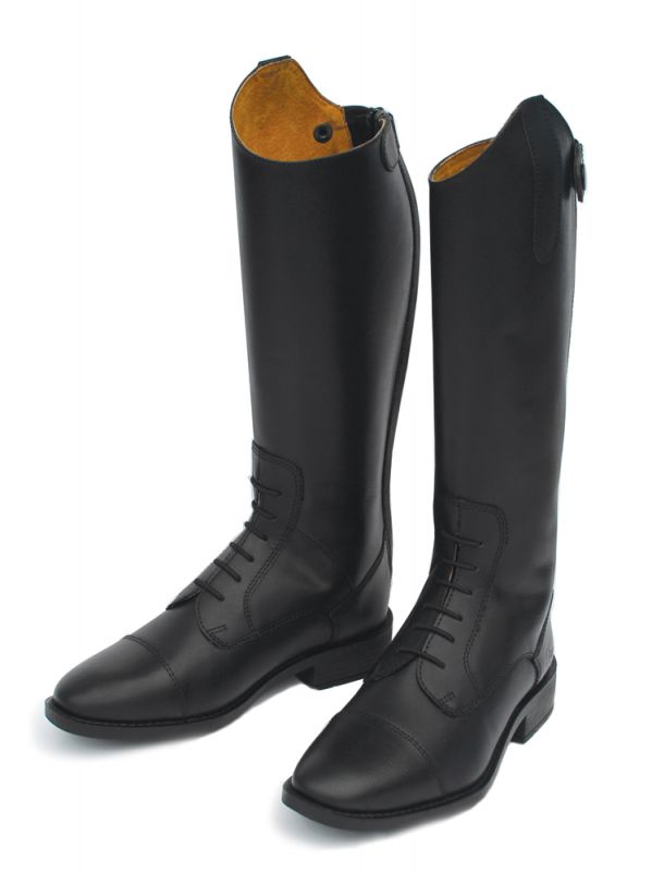 Rhinegold Young Rider Berlin Long Leather Riding Boot Black